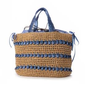 サテンリボン×ペーパー切り替え編みトートバッグ (ブルー)