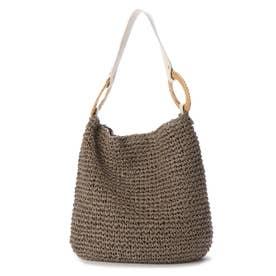 ラタンリングつなぎ手編みワンショルダーバッグ (グレー)