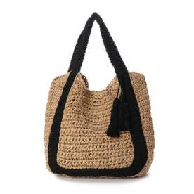 バイカラーハンドル手編みトートバッグ (ブラック)