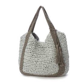 バイカラーハンドル手編みトートバッグ (ライトグレー)