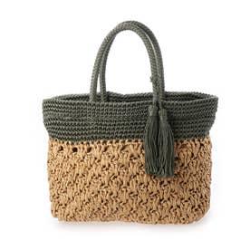 柄編み切り替えトートバッグ (カーキ)