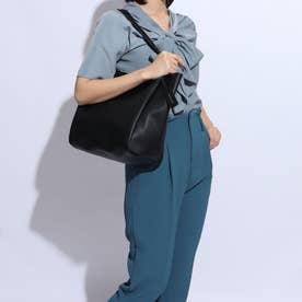 メッシュポーチ付き合皮×ストライプリバーシブルトートバッグ (ブラック)