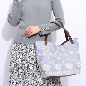 花柄刺繍変形トートバッグ (ブルー)