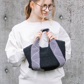 コードメッシュハンドル手編みトートバッグ (ブラック)