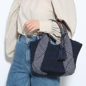 コードメッシュハンドル手編みトートバッグ (ネイビー)