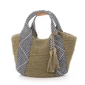 コードメッシュハンドル手編みトートバッグ (グリーン)
