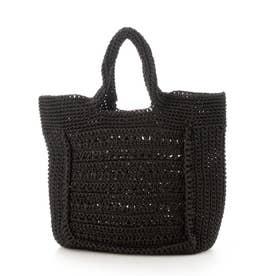 柄編みスクエア型トートバッグ (ブラック)
