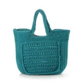 柄編みスクエア型トートバッグ (ターコイズ)