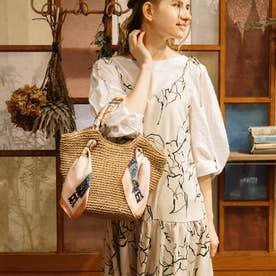 スカーフハンドル手編みトートバッグ (キャメル)