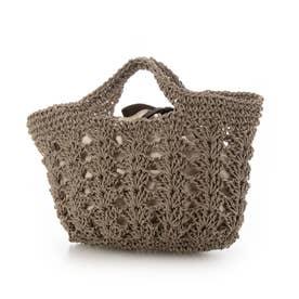 松葉編みトートバッグ (ブラウン)