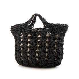 松葉編みトートバッグ (ブラック)