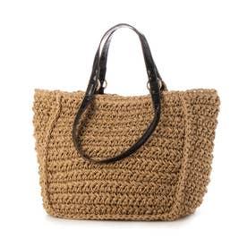 手編みベーシック2wayハンドルトートバッグ (ブラック)