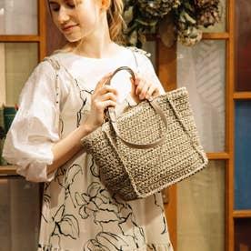 手編みベーシック2wayハンドルトートバッグ (グレー)