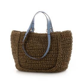手編みベーシック2wayハンドルトートバッグ (チョコ)