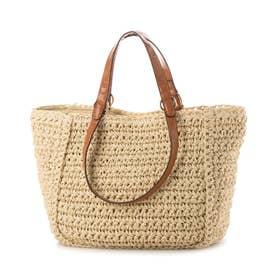 手編みベーシック2wayハンドルトートバッグ (ベージュ)