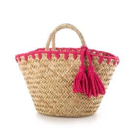かがり編み水草カゴバッグ (ピンク)