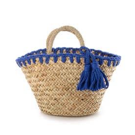 かがり編み水草カゴバッグ (ブルー)