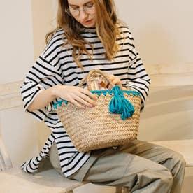 かがり編み水草カゴバッグ (ターコイズ)