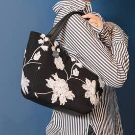 フラワー刺繍ミニトートバッグ (BK)