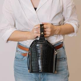 エキゾチックレザーミニバケツ型ショルダーバッグ (ブラック)