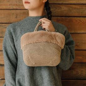 エコファー切り替え手編みミニトート (BE)
