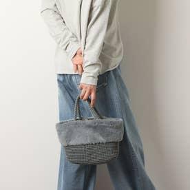 エコファー切り替え手編みミニトート (GRY)
