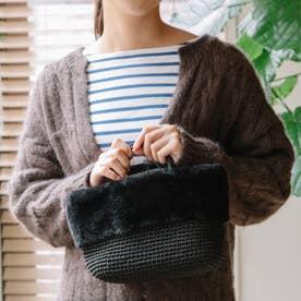 エコファー切り替え手編みミニトート (BK)