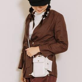 スマホポケット付き巾着ショルダーバッグ (ホワイト)