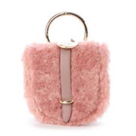 ファーかぶせチャームショルダーバッグ (ピンク)
