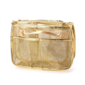 メタリックチュールバッグインバッグ (ゴールド)