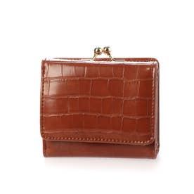 クロコ型押し三つ折りミニ財布 (ブラウン)