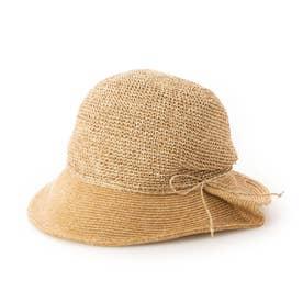 手編み切り替えクロッシェハット (キャメル)