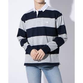 長袖ポロシャツ 4INCH STRIPE RUGBY JERSEY RA40096 (ネイビー)