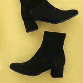 シンプルショートブーツ (ブラックシルキー)