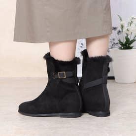 ボア付きショートブーツ (ブラック)