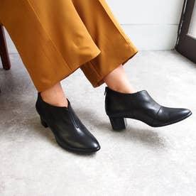 【防水】レザーショートブーツ (ブラック)