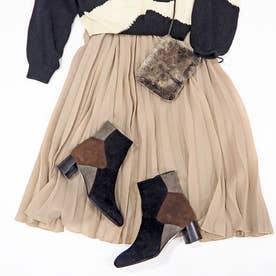 秋らしいオシャレなカラーブロックショートブーツ (ブラックコンビ)