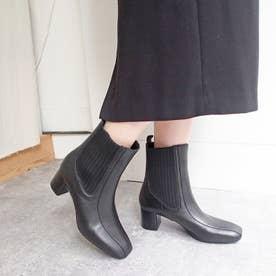 脚がほっそりスマートに見えるニットサイドゴアブーツ (ブラック)