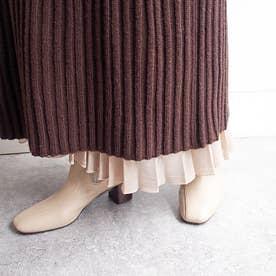 脚がほっそりスマートに見えるニットサイドゴアブーツ (ライトベージュ)