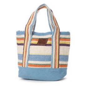 【チャイハネ】ボーダー織りミニトートバッグ ホワイト×ブルー