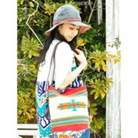 ◆【チャイハネ】オルテガ柄ショルダーバケツバッグ オフホワイト
