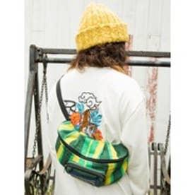 【チャイハネ】WALK WITH THE SUN 手織りストライプ柄ボディバッグ グリーン