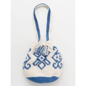 【欧州航路】ヨーロピアン風コットンニット巾着ショルダーバッグ ブルー