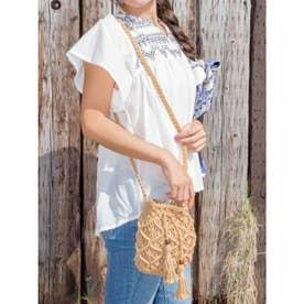 【欧州航路】マクラメ編みミニ巾着ショルダーバッグ ベージュ