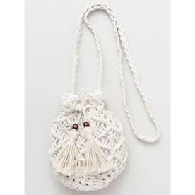 【欧州航路】マクラメ編みミニ巾着ショルダーバッグ ホワイト