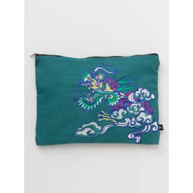 【チャイハネ】ドラゴン刺繍クラッチバッグ BIGポーチ ブルー