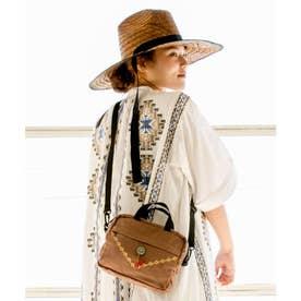 【チャイハネ】コンチョ&刺繍ショルダーバッグ ブラウン