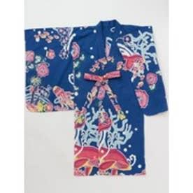 【チャイハネ】紅型風プリントキッズ浴衣110cm ネイビー