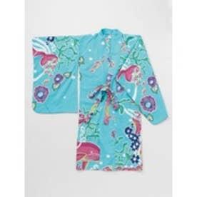 【チャイハネ】紅型風プリントキッズ浴衣110cm ターコイズブルー