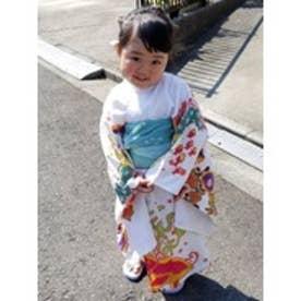 【チャイハネ】紅型風プリントキッズ浴衣110cm ホワイト